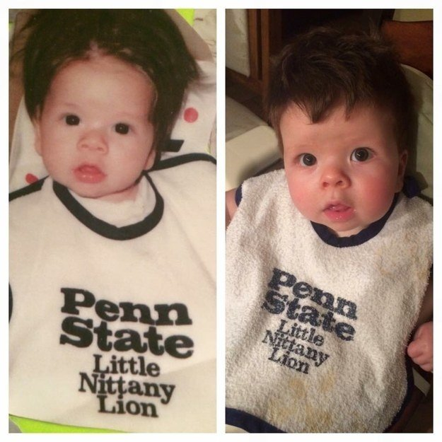 """My husband on the left, our son on the right (around the same age, 7-10 months) the only difference is the state of the bib and hair style!"" —jessicas436bad5f2"