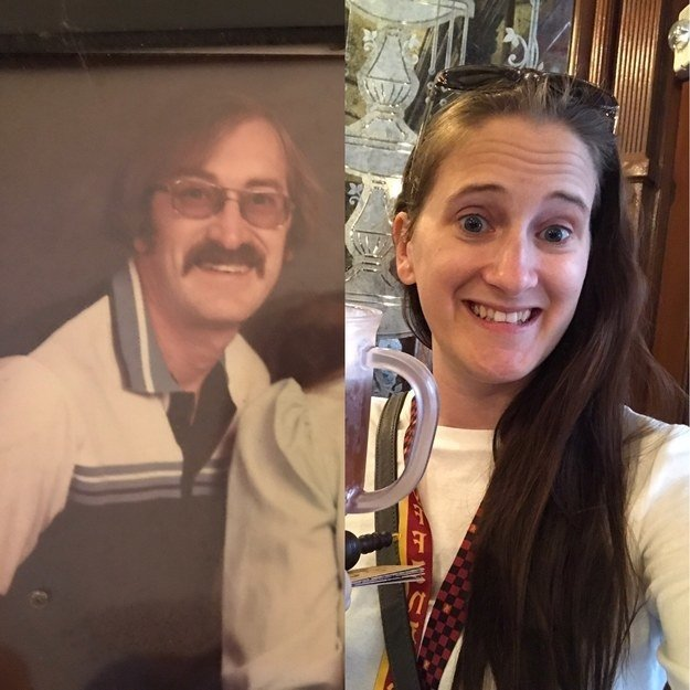 """My dad passed away when I was 14, so I've never stood side by side with him as adult. This is him, at about age 34, and me at 32. My mom always said that I got the ""best of both""... but with the exception of the rocking 80s stash (which he proudly rocked until chemo did its thing), I absolutely look like him."" —kristinap48d99e23b"