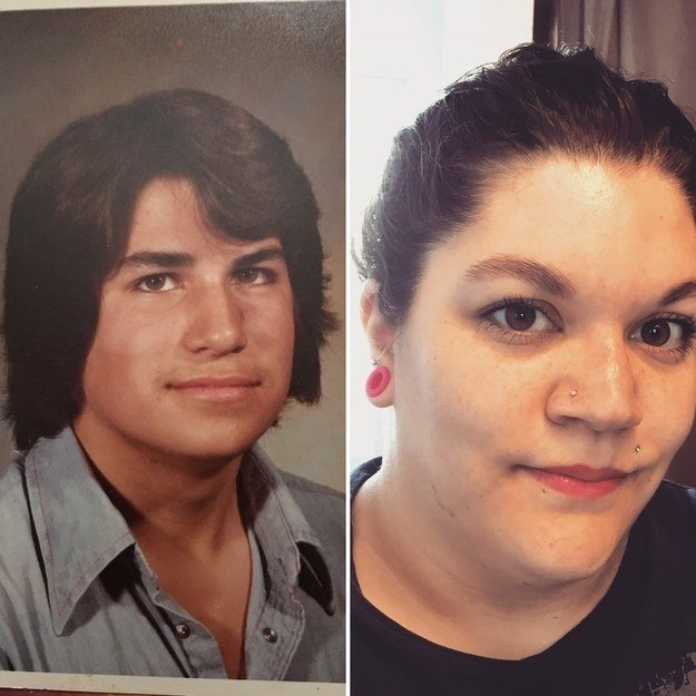 """This is my dad at 16 (1981) and me at 29 (2018) I've been his spitting image since the day I was born, I wish he was here still to take a new picture. If I didn't have my hair pulled up the same cowlick would be visible as well"" —allanchristina89"