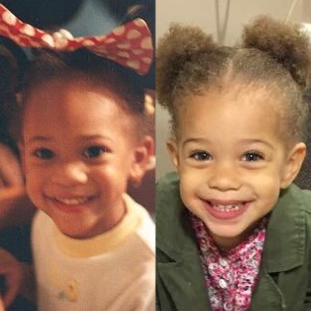 """Me on the left and my daughter, Astrid, on the right. Both at the age of 3."" —amaraholypurplejesusm"