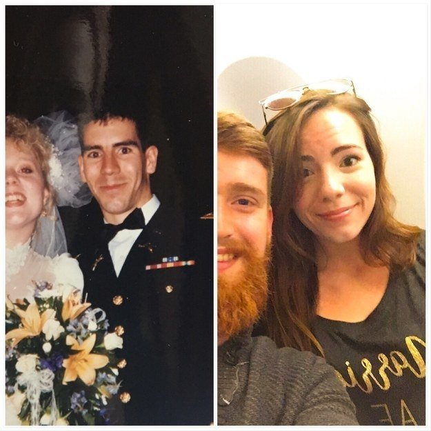 """My whole life I've been told I look exactly like my dad. The left is him at 24 at his wedding to my mom, the right is me at 23 at the start of my honeymoon. Unfortunately I couldn't find the best pictures to illustrate the resemblance, but you can still see it in the eyes/nose/forehead/chin dimple."" —devinl4fd9c68c7"