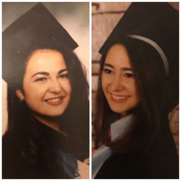 """On the left my mother's high school graduation photo,and on the right mine :)."" —eylulbeyzah"