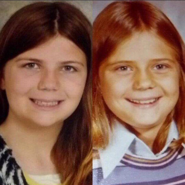 """Me in 5th grade vs my mom in 5th grade!"" —macyp432e536bd"