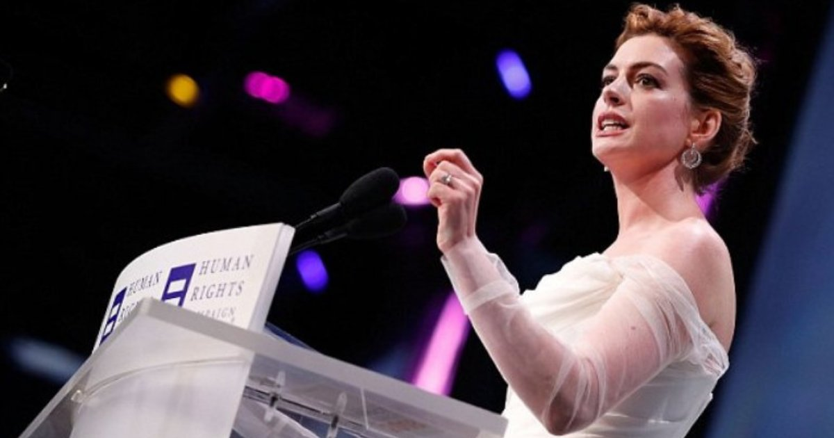 anne6.png?resize=412,232 - Anne Hathaway Denounces White Privilege At Human Rights Campaign National Dinner