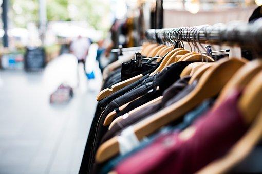 흐림, 옷걸이, 의류, 쇼핑, 시장, 근접, 초점, 재킷, 사람들, 고문