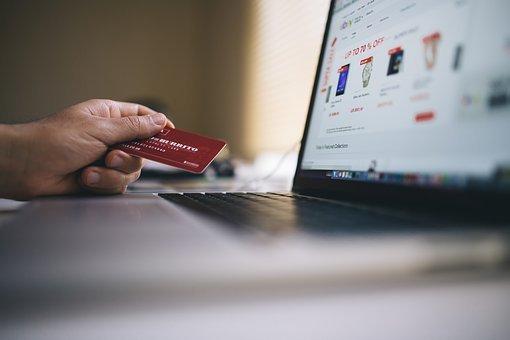 전자 상거래, 쇼핑, 신용 카드, 지불, 돈, 노트북, 컴퓨터