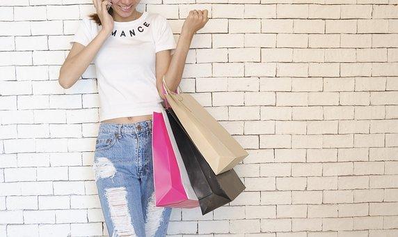 사람들, 소녀, 서있는, 이야기, 전화 번호, 벽, 쇼핑, 가방