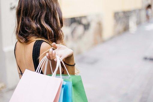 여자, 쇼핑, 라이프 스타일, 아름 다운, 성인, 가방, 구매, 캅 카스