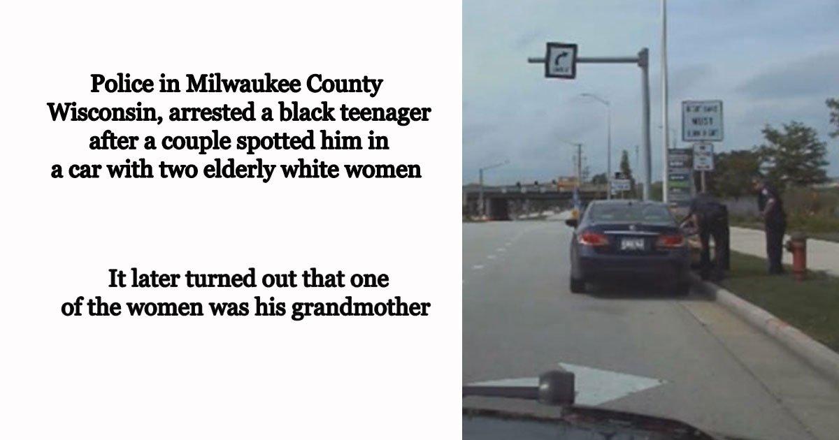 black teen arrested.jpg?resize=412,232 - Un couple a informé la police qu'un adolescent noir avait volé deux femmes blanches dans une voiture - La police a découvert plus tard qu'une des femmes était sa grand-mère