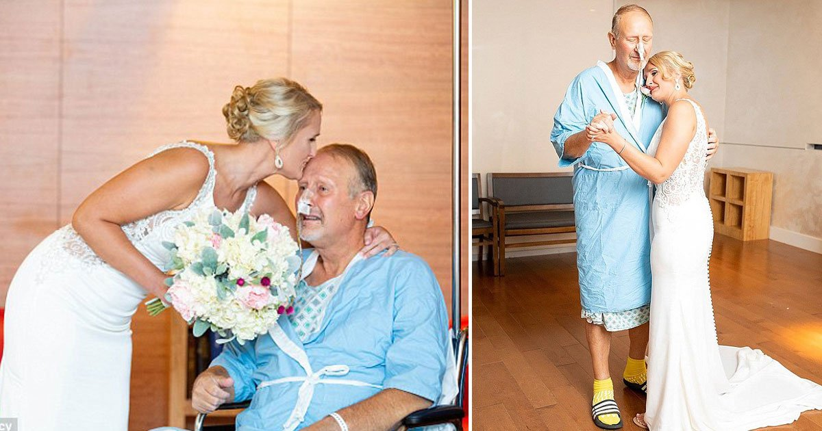 bride ailing father.jpg?resize=1200,630 - Heartbroken Father Was Told He Was Too ILL To Attend His Daughter's Wedding - His Daughter Surprised Him In The Hospital On Her Wedding Day