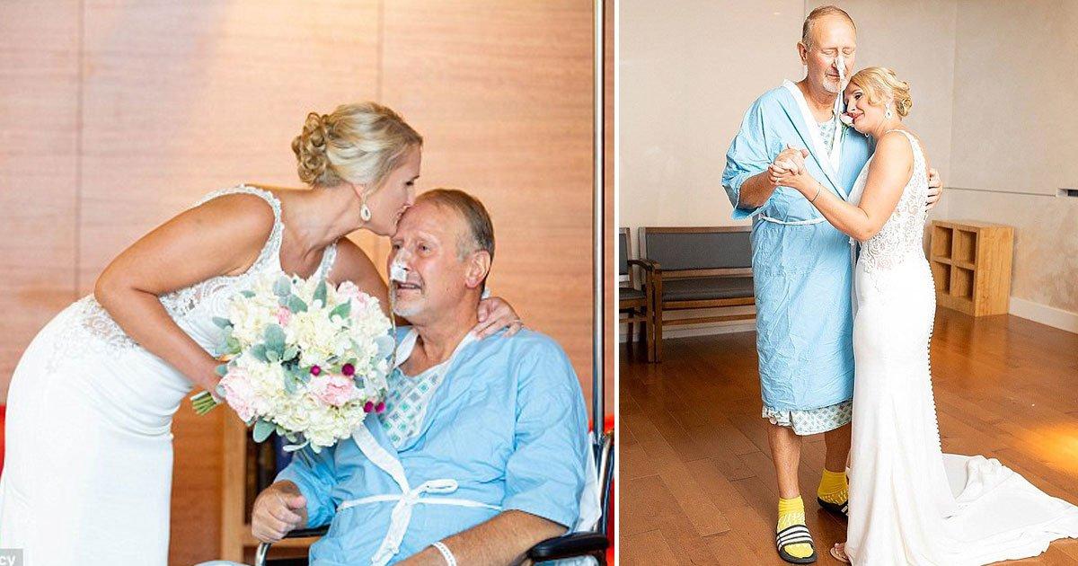 bride ailing father.jpg?resize=300,169 - Se le dijo a su desconsolado padre que estaba demasiado enfermo para asistir a la boda de su hija: su hija lo sorprendió en el hospital el día de su boda