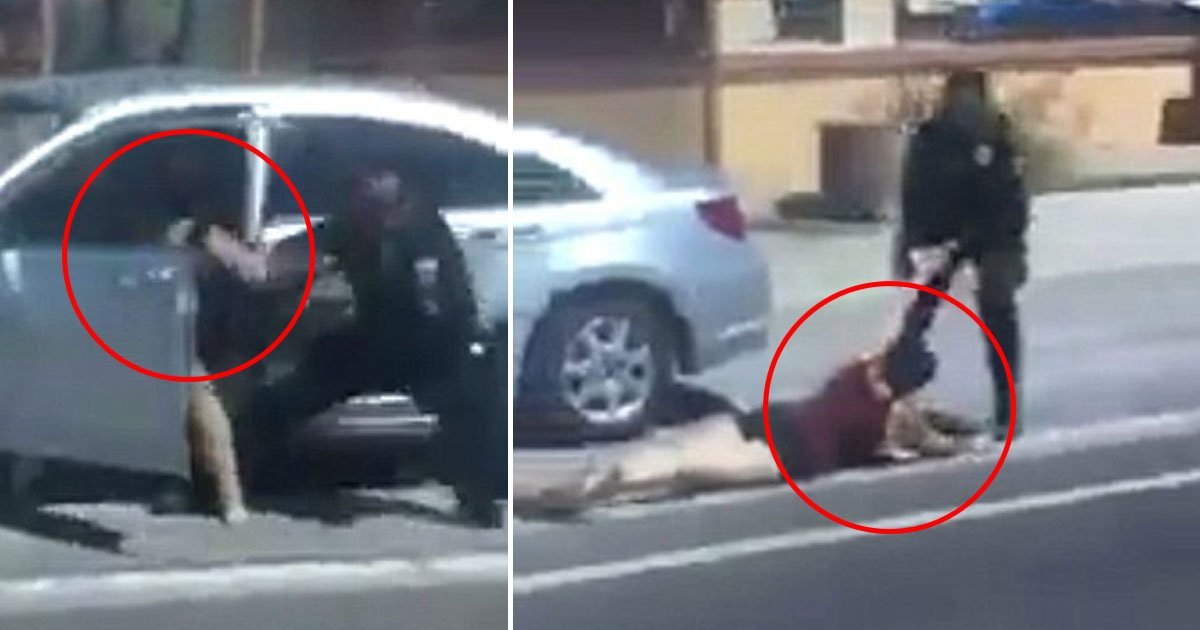 cop punches woman.jpg?resize=636,358 - Video Footage Shows An Officer Punching An Unarmed Woman And Dragging Her Down The Street During A Traffic Stop