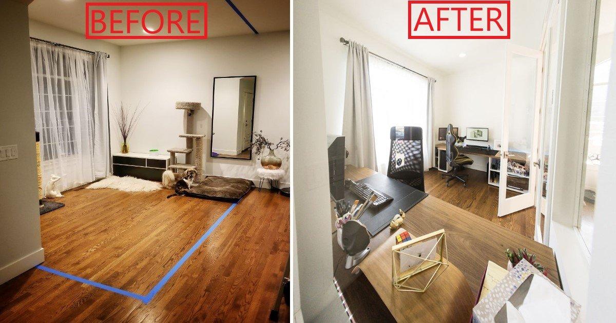 featured image 4.jpg?resize=412,232 - Voici comment cet homme a transformé son salon en un magnifique bureau