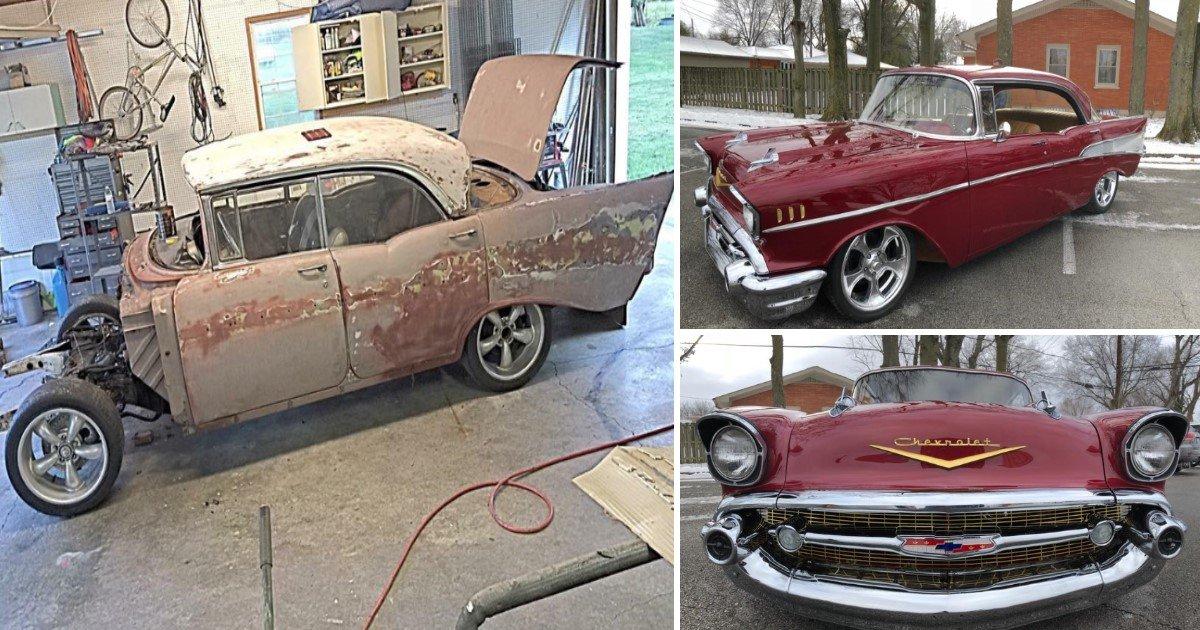 featured image 8.jpg?resize=636,358 - Neto secretamente restaura Chevy Bel Air 1957 do avô, vendendo seu próprio carro para isso
