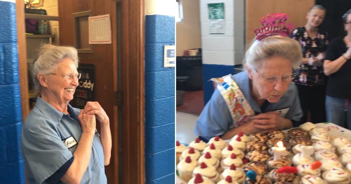frances6.png?resize=1200,630 - Le personnel et les élèves d'une école surprennent la personne chargée de l'entretien, âgée de 76 ans, avec une fête d'anniversaire spéciale