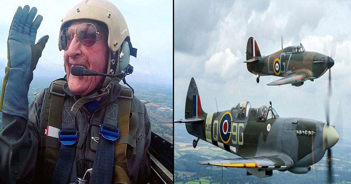hero battle of britain pilot takes skies final time.jpg?resize=412,232 - Pilote et héros de la grand battaile de Grande-Bretagne, un des derniers héros survivants, Archie McInnes prend son envol pour la dernière fois