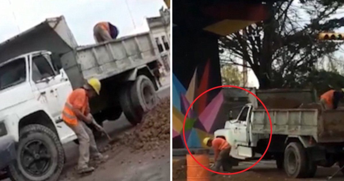 hfhfhf.jpg?resize=412,232 - Baffling Footage From Argentina Shows Construction Worker Shovels Earth Into The Back Of Truck As Co-worker Empties It Back Again