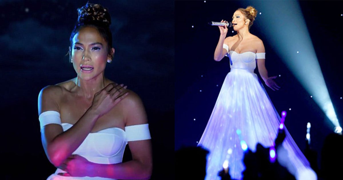 jennifer lopezs dress looks normal but when camera zoom out it is something unique.jpg?resize=574,582 - Jennifer Lopez's Dress Looks Normal But When Camera Zoom Out It Is Something Unique