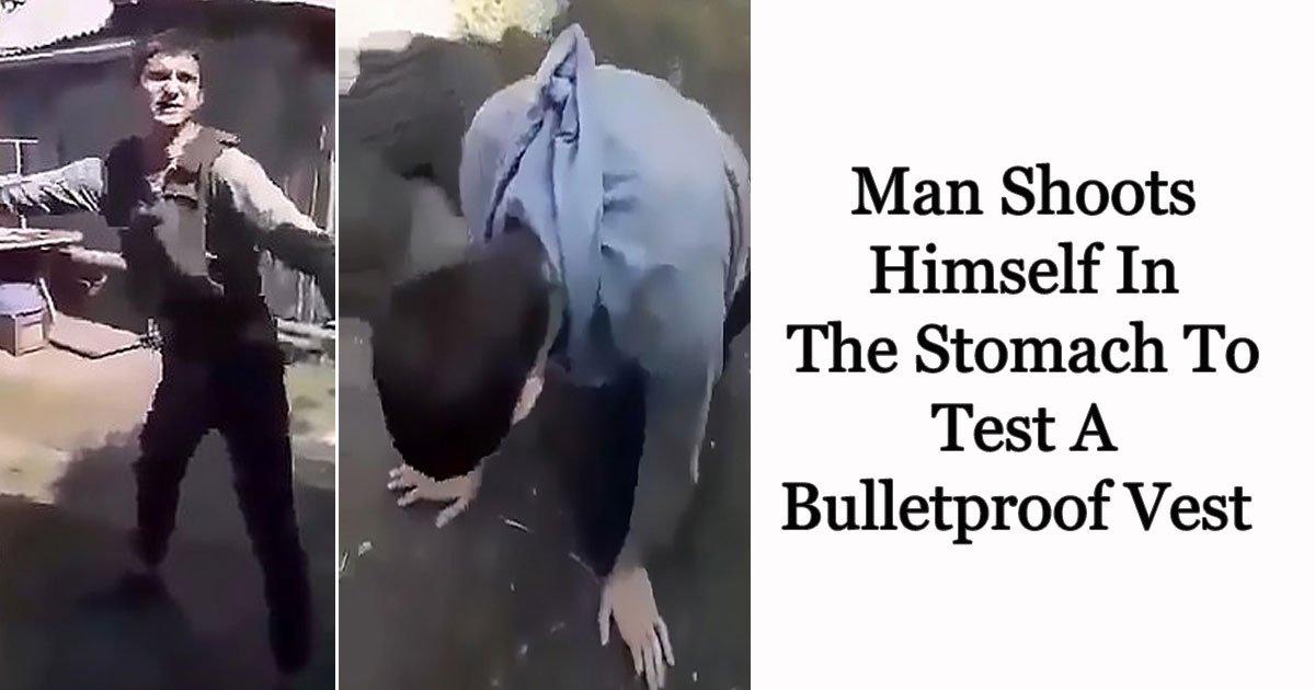 man shoots himself.jpg?resize=648,365 - Vídeo de um homem atirando no próprio estômago para testar um colete à prova de balas circula na internet