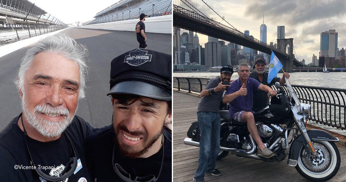 mnk.jpg?resize=300,169 - Recorrió junto con su hijo 28 mil kilómetros en motocicleta hasta Estados Unidos, sus 65 años no fueron un obstáculo.