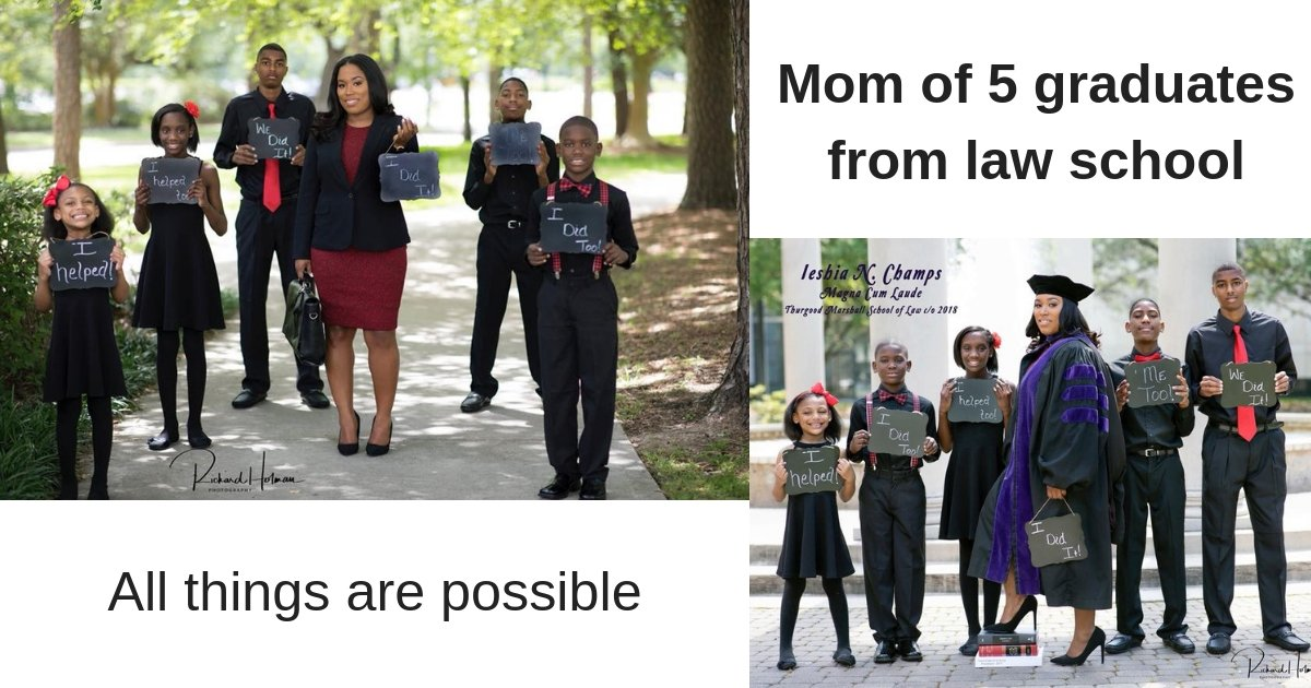 mom of 5 graduates from law school.jpg?resize=412,232 - Single Mom of Five goes Viral after her Inspiring Law School Graduation