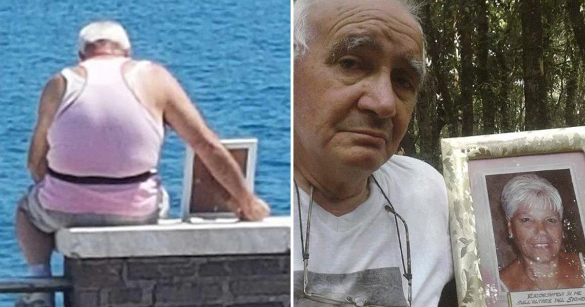 mujere.png?resize=300,169 - Este anciano lleva la foto de su difunta esposa a la playa cada día para que le haga compañía