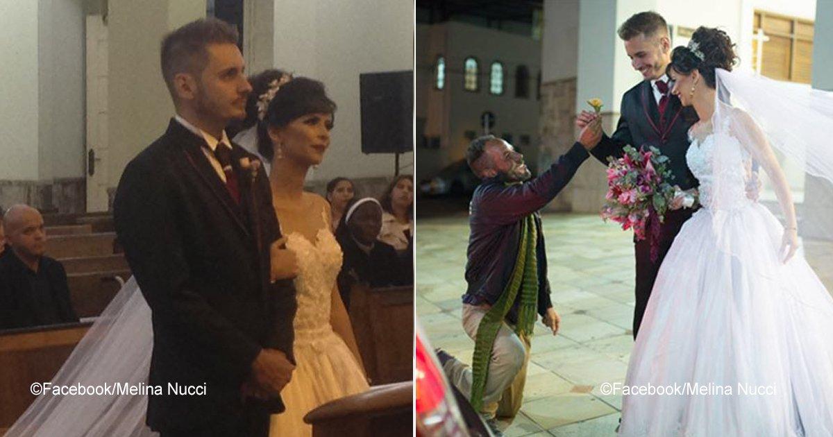 novios.jpg?resize=636,358 - Um homem que mora na rua foi convidado para um casamento, o casal foi movido com seu gesto nobre