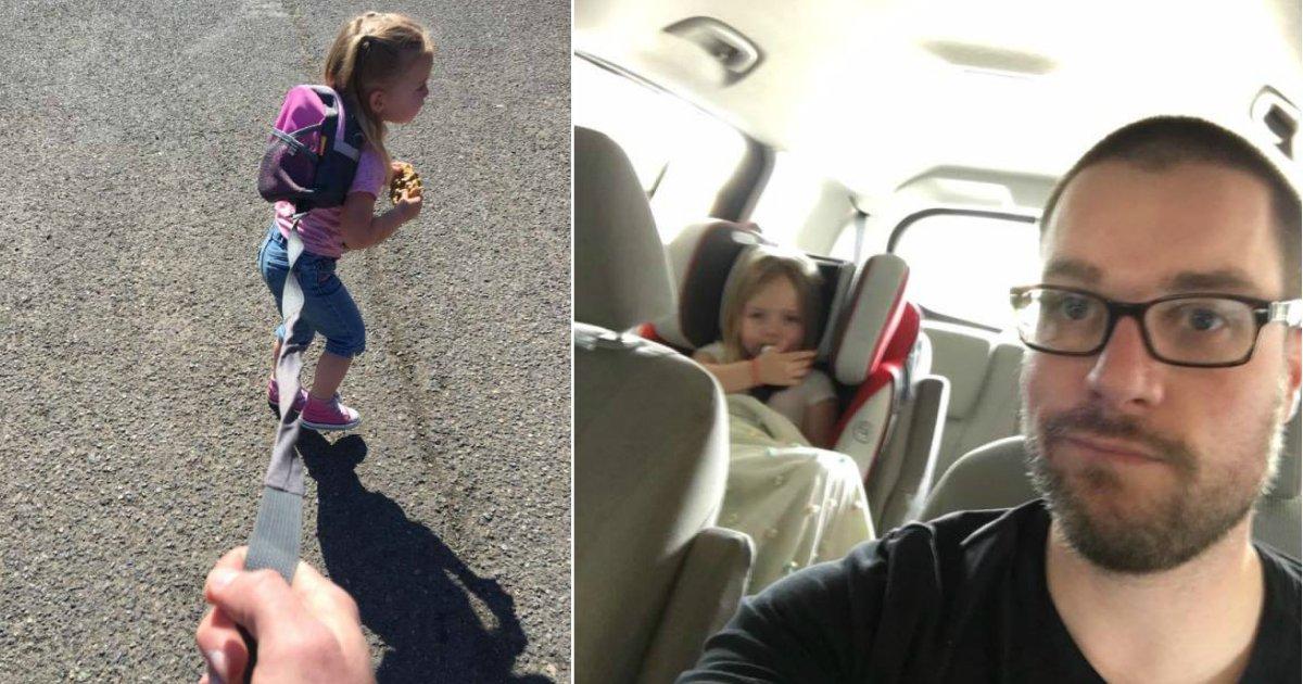 on a leash.jpg?resize=574,582 - Pai explica porque decidiu manter sua filha de 3 anos na coleira