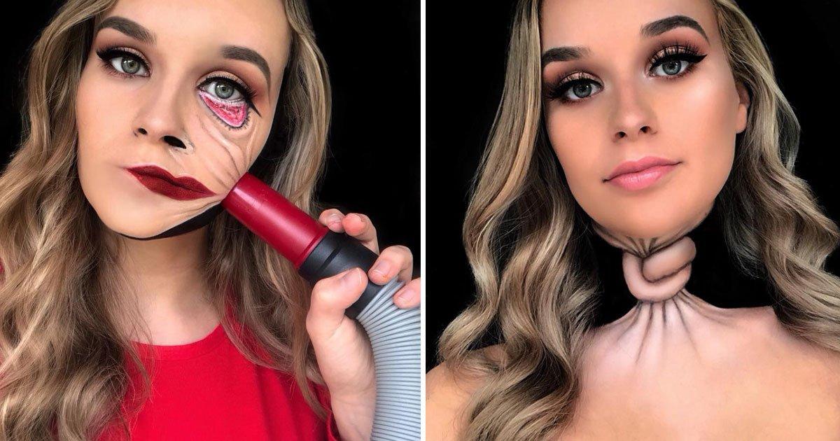 optical illusions.jpg?resize=1200,630 - Une étudiante crée des illusions d'optiques effrayantes et étonnantes à l'aide de maquillage