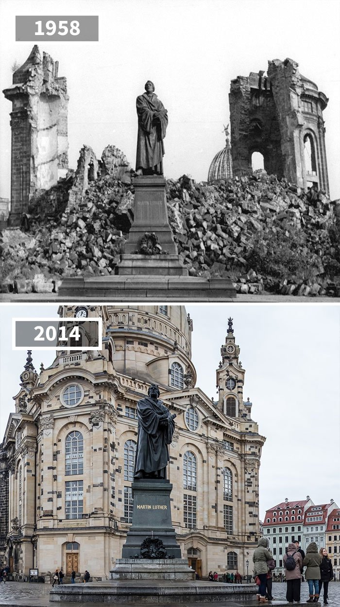 Statue de Martin Luther, Dresde, Allemagne, 1958 - 2014