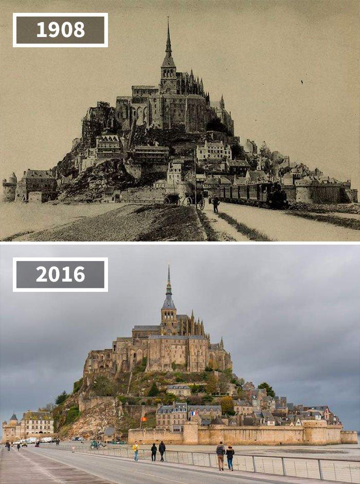 Voiture à cheval et locomotive à vapeur, Mont Saint-Michel, France, 1908 - 2016