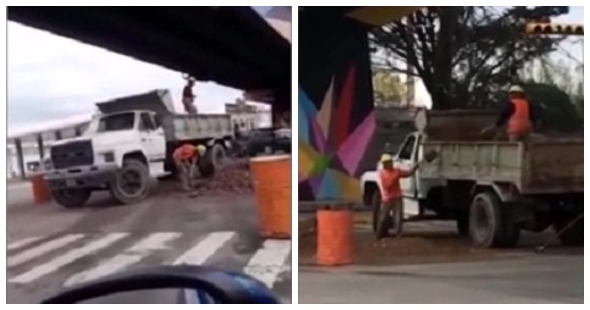 truck 1.jpg?resize=636,358 - Argentinian Motorist Captures Amusing Scene Of Two Workers Shoveling Dirt On & Off The Same Truck