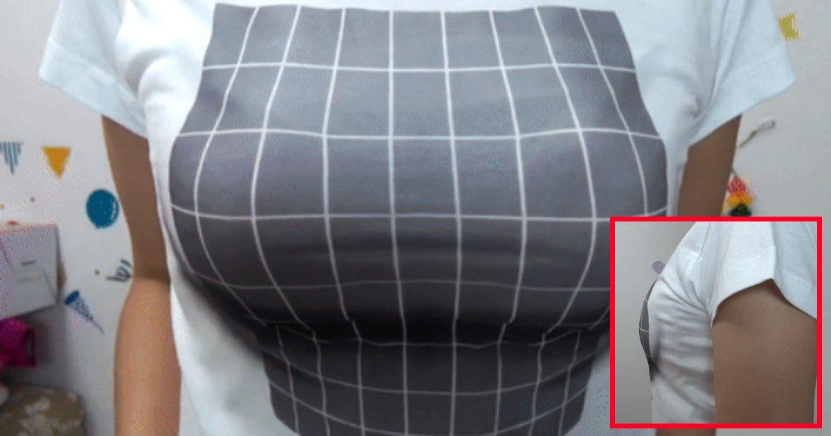 tshirt5.png?resize=636,358 - Ce t-shirt 3D à illusion d'optique augmente la poitrine sans avoir recours à quelconque chirurgie plastique.