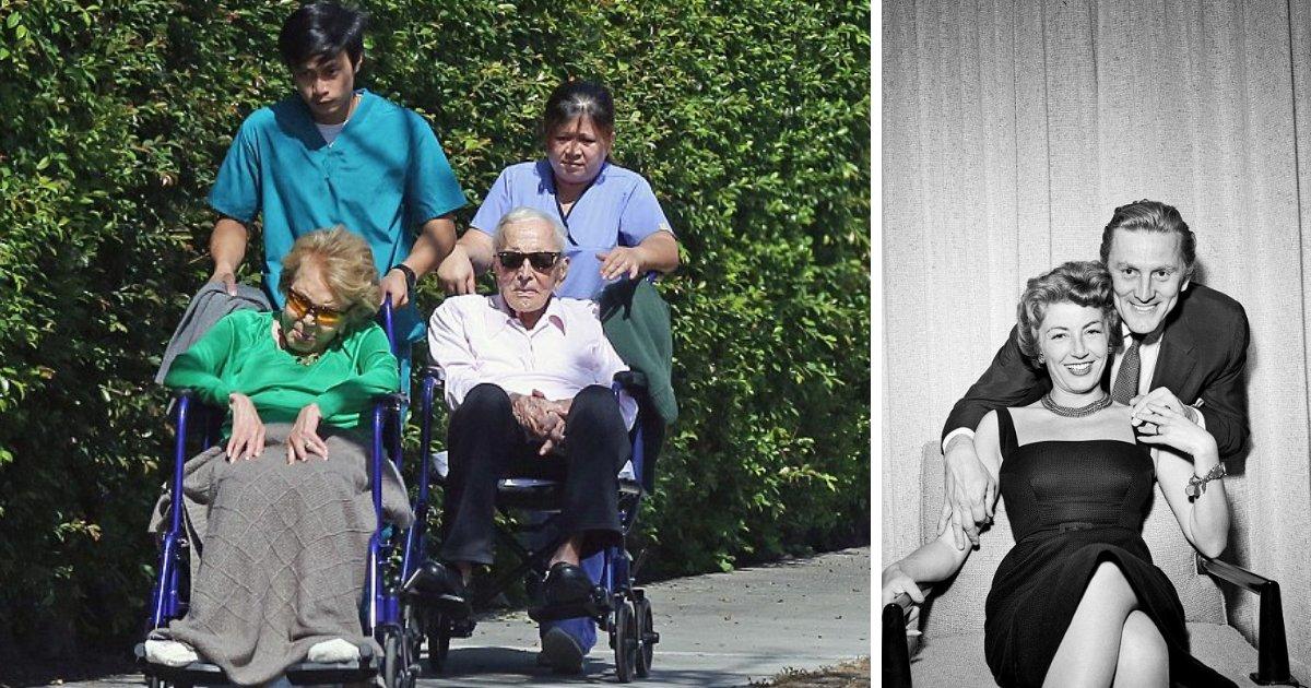 untitled design 12 1.png?resize=1200,630 - Kirk Douglas, 101, e Anne Buydens, 99, ainda são inseparáveis depois de 64 anos de casamento feliz
