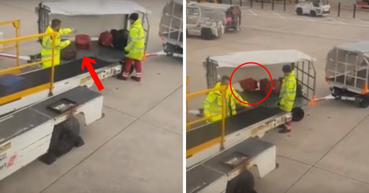 untitled design 13 2.png?resize=636,358 - Tourist Films Baggage Handler THROWING Suitcases So Hard They Fall Off The Trailer