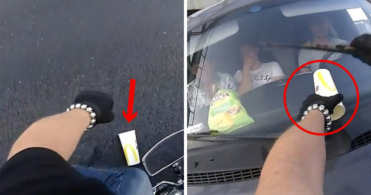 untitled design 20 1.png?resize=636,358 - Angry Biker Returns Litter After Van Passengers Throw Their Trash On The Street