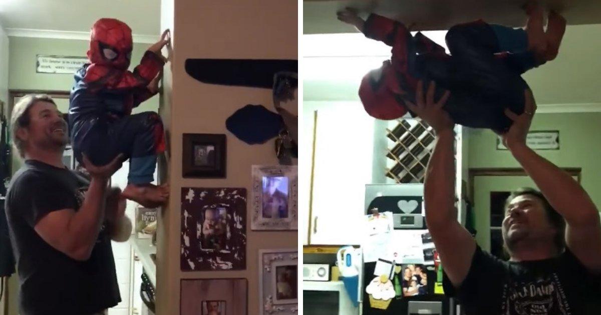 untitled design 36 1.png?resize=1200,630 - Un papa aide son petit garçon à se transformer en Spider-Man et à réaliser ses rêves