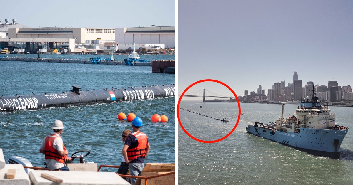 untitled design 38.png?resize=1200,630 - Pacific Ocean Cleanup Floating Barrier Deployed To Collect Five Tons Of Waste Each Month