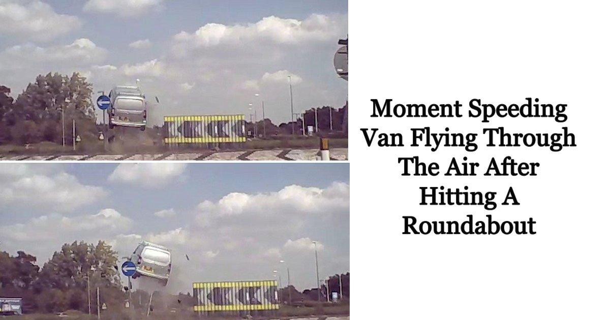 van flying.jpg?resize=1200,630 - Un excès de vitesse se termine dans les airs après avoir frappé un rond-point