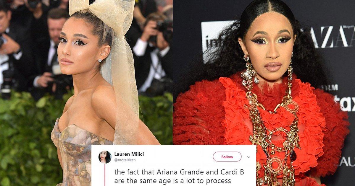 vgag 1.jpg?resize=636,358 - Mulher levanta discussão inesperada no Twitter ao apontar que Ariana Grande e Cardi B têm mesma idade