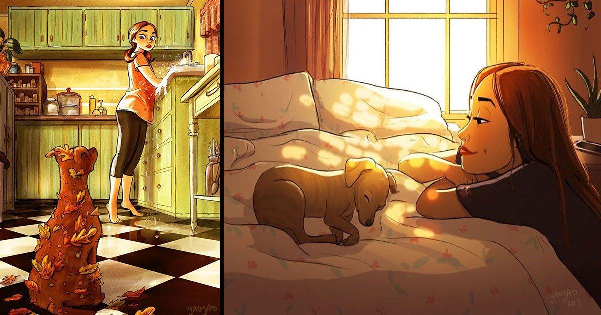 yaoyao ma van as artist illustration girl dog.jpg?resize=1200,630 - Artista ilustra a vida com seu cachorro e as fotos tocarão seu coração