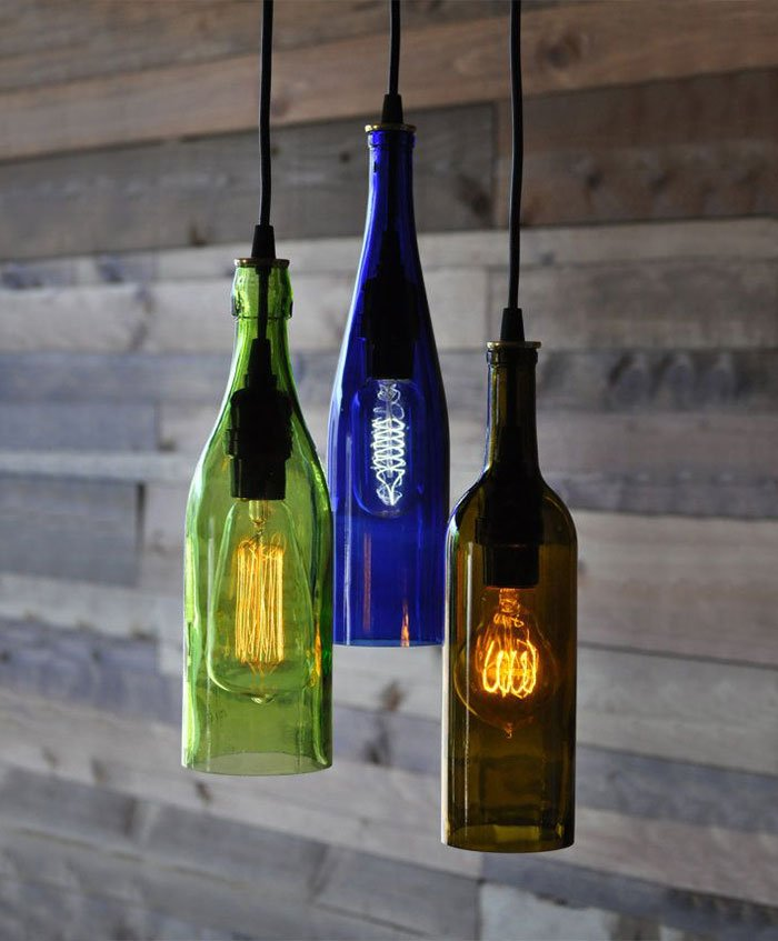 Light Chandelier From Recycled Wine Bottles