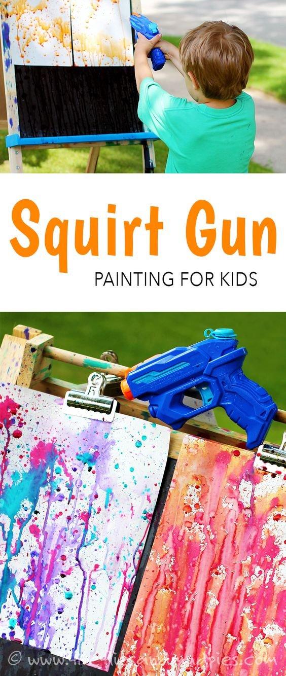 squirt gun painting - a fun summer art project for kids