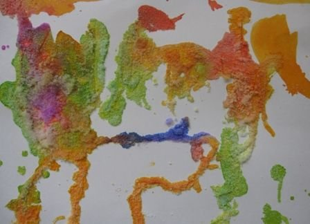 Draw on poster board with glue, sprinkle with salt, add watercolor paint.