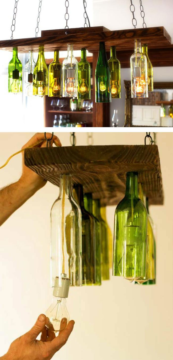 Chandelier From Old Wine Bottles