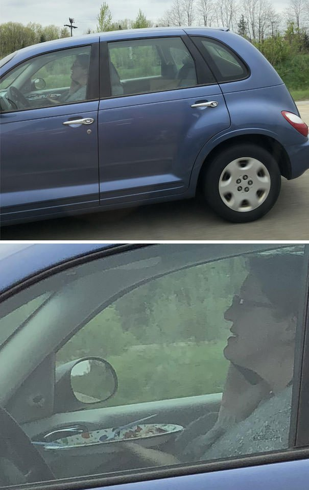 75-80 MPH, Holding A Plate With A Fork And Knife And Talking On The Phone