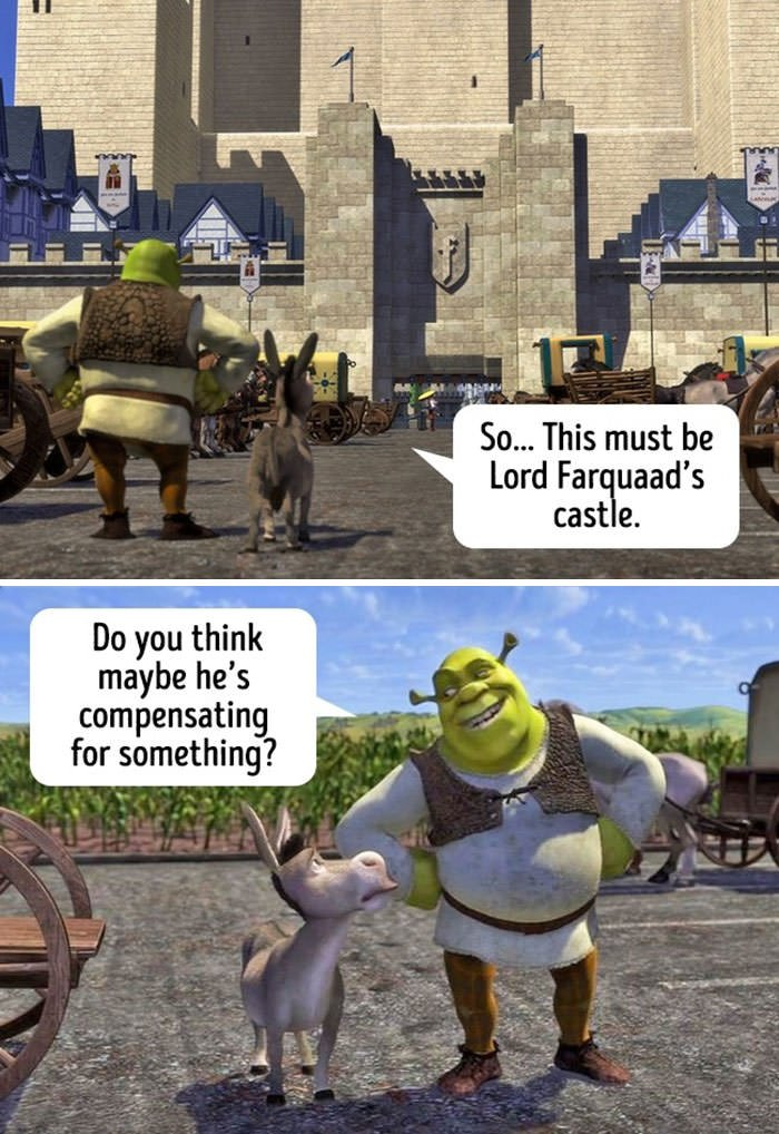 "Seeing The Huge Castle Tower Shrek Asked His Friend ""Do You Think Maybe He's Compensating For Something?"" By The Way, Donkey Didn't Get The Message"