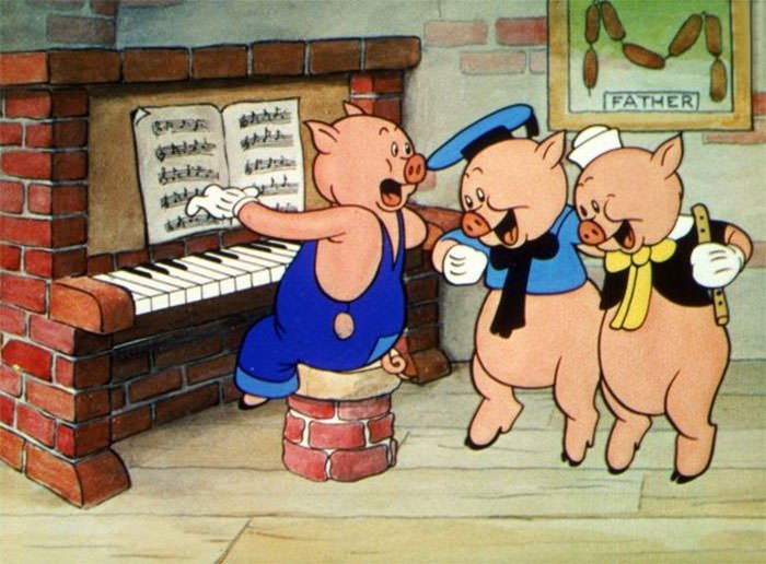 The Three Little Pigs Have Their Father Hanging On The Wall
