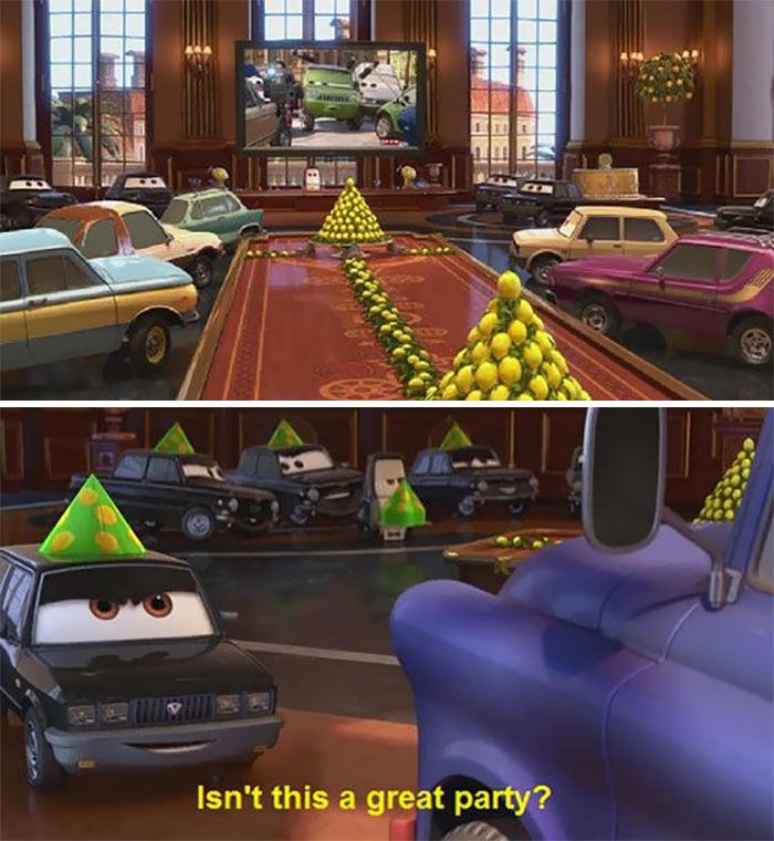"The ""Lemon Party"" In Cars 2. If You Don't Know What A Lemon Party Is, Please Don't Google It"