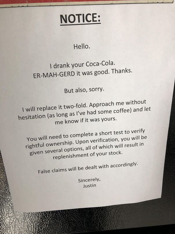 This Note On The Fridge At Work